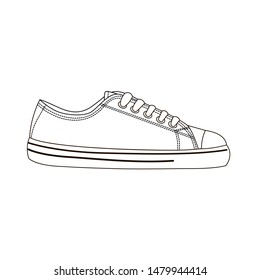 Sneakers. Mens and womens sports and casual shoes. Outline drawing