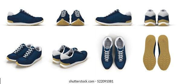 sneakers renders set from different angles on a white. 3D illustration