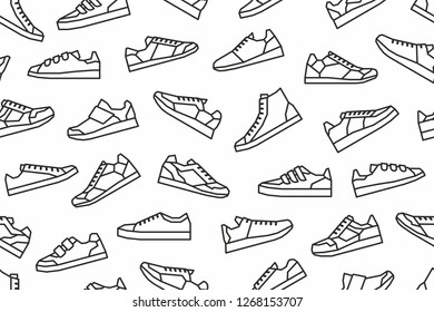 Sneakers seamless pattern. Isolated on White background