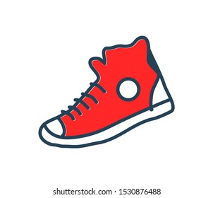 Sneakers shoes all star generation rock icon typical wardrobe element. Moccasins symbol or patch raster cartoon illustration thematic decoration icon