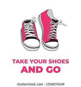Sneakers shoes pair isolated. Hand drawn illustration of pink shoes. Sport boots hand drawn for logo, poster, postcard, fashion booklet, flyer. Sketch sneakers. Pink shoes.