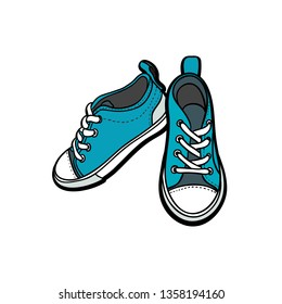 Sneakers shoes pair isolated. Hand drawn illustration of blue shoes. Sport boots hand drawn for logo, poster, postcard, fashion booklet, flyer. Sketch sneakers. Blue shoes.