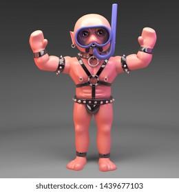 Snorkel diving gay bondage slave in fetish outfit waves hello, 3d illustration render