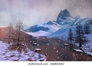Snow, 3D rendering, an alpine landscape, rocks, stones, trees and a beautiful lake.
