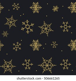 Snow black and gold pattern. Snowflake texture. Christmas background. Raster illustration.