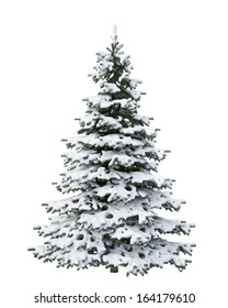 snow Christmas tree isolated on white background