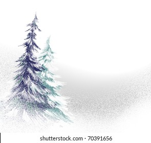 snow covered green and blue pine trees winter illustration with soft falling snow and blizzard like white out weather conditions, has copy space to add your own text or title