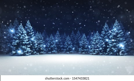 Snow covered winter forest under stormy snowfall and dark sky, seasonal 3D illustration and copy space background