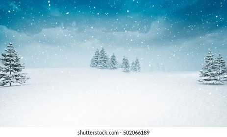 snow covered winter landscape at snowfall, snowy trees with blue sky background 3D illustration