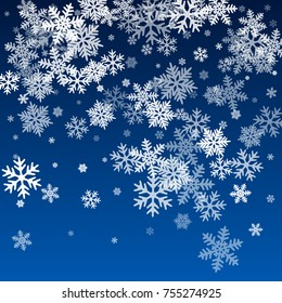 Snow flakes falling winter image background. Snowflake macro illustration, water freezing parts, snow elements, flakes confetti chaotic scatter. Cold weather symbols.