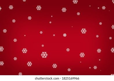 Snow flakes on christmas red background