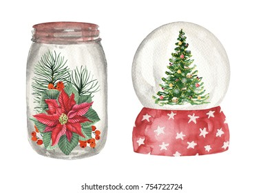 Snow globe with Christmas elements. Watercolor hand drawn