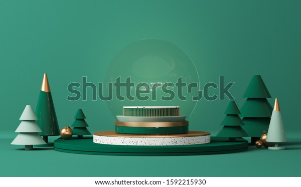 Snow globe with gold platform, midnight green, blue shapes, balls and pine trees. Podium, stand with terrazzo for christmas holiday winter concep and magazines, poster, banner. 3D rendering
