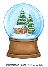 Snow globe with house and pine trees isolated on white. Watercolor illustration. Realistic, hand painted Christmas element.