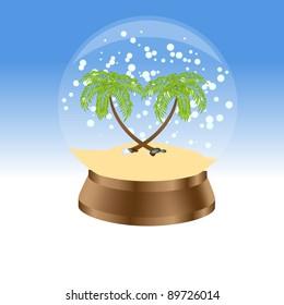 Snow globe with palm trees.