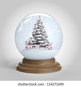 snow globe with a red decorated christmas tree and presents isolated on white, clipping path included