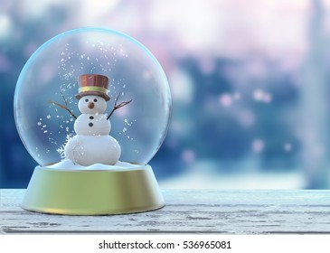 Snow globe with snowman white. Merry Christmas and Happy New Year postcard, banner, poster, picture. Christmas 3D Render ready for Your design.