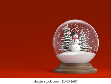 snow globe whit snowman and trees on a red background with copy space, clipping path included