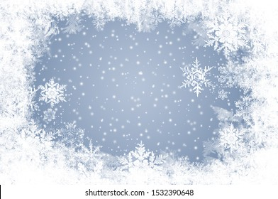 Snow and ice crystals against a blue background