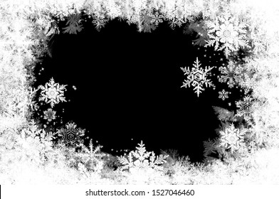 Snow and ice crystals on a black background