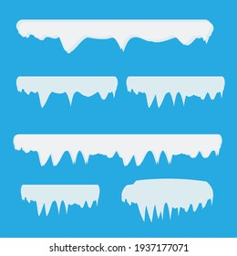 Snow and ice frames. Winter cartoon snow caps, snowdrifts and icicles. Illustration of snowcap for web design