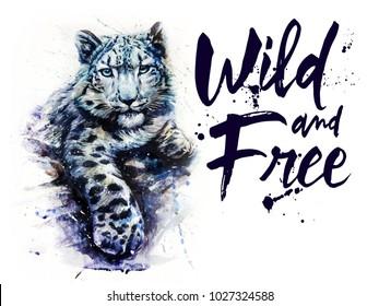 Snow leopard animals watercolor predator wildlife