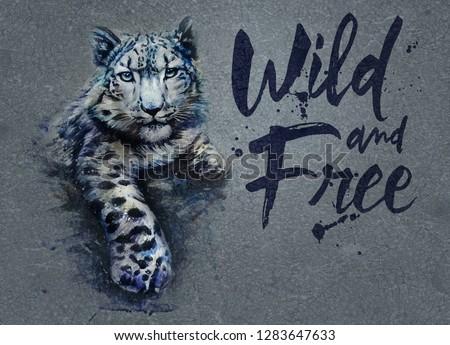 Snow leopard animals watercolor