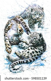 Snow leopard watercolor kids baby animals predator