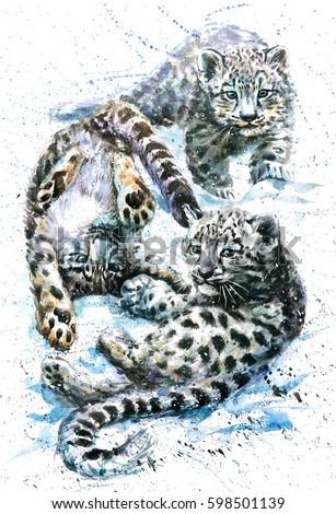 Snow leopard watercolor kids