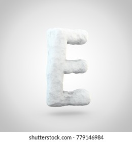 Snow letter E uppercase. 3D render of snowy font isolated on white background.