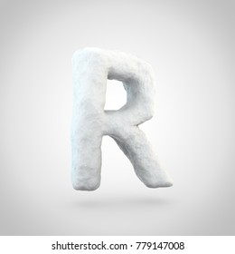 Snow letter R uppercase. 3D render of snowy font isolated on white background.