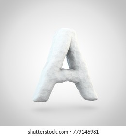 Snow letter A uppercase. 3D render of snowy font isolated on white background.