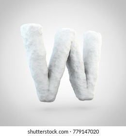 Snow letter W uppercase. 3D render of snowy font isolated on white background.