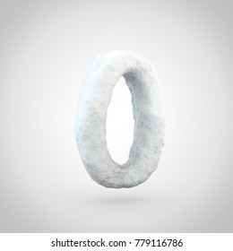 Snow number 0. 3D render of snowy font isolated on white background.