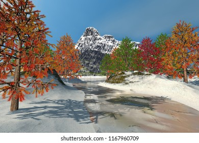 Snow on the river, 3d rendering, an autumn landscape, beautiful trees, frozen waters and a blue sky.