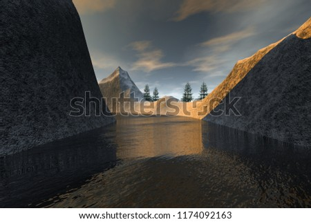 Snow on the river, 3d rendering, a winter landscape, coniferous trees, wonderful waters and a blue sky.