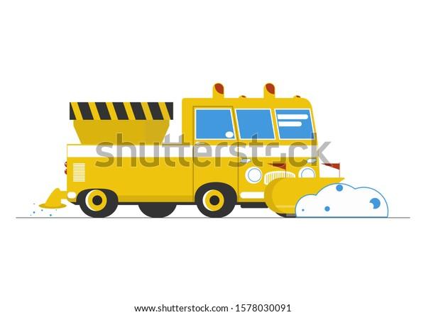 Blue Snow Plow Cartoon Dump Truck