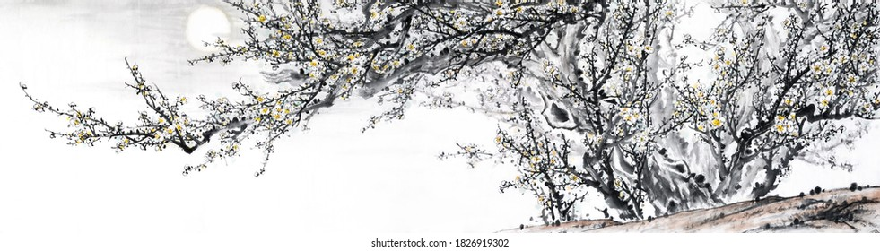 A snow plum tree with the moon.Japanese/Chinese ink and wash painting.Eastern traditional culture.