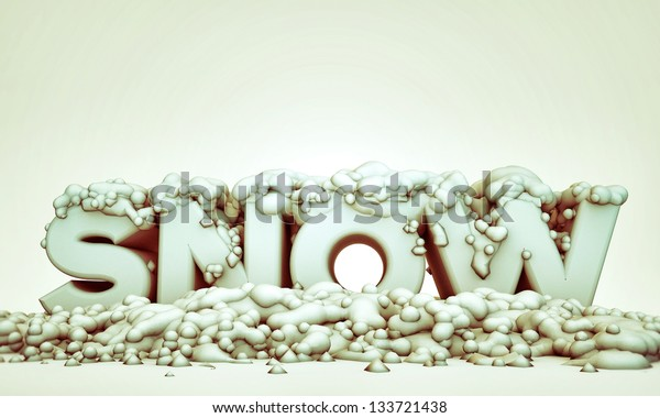 snow sign isolated on white  background