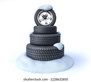 snow tires in the shape of a Christmas tree on a snow 3d render on white