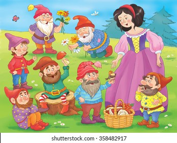 Snow white and seven dwarfs. Fairy tale. A beautiful princess surrounded by seven dwarfs.  Illustration for children. Coloring book. Cartoon character.
