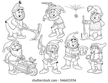 The Snow White and seven dwarfs. Fairy tale. Coloring book. Coloring page. Cute seven dwarfs working. Illustration for children. Funny cartoon characters