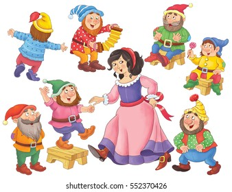 The Snow White and seven dwarfs. Fairy tale. Cute princess and dwarfs dancing. Illustration for children. Coloring book. Coloring page. Funny cartoon characters isolated on white background.