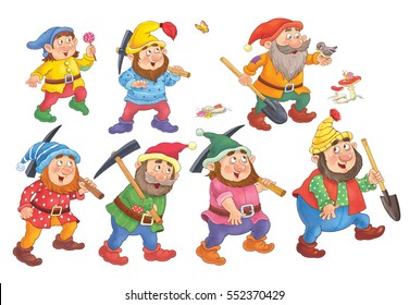 The Snow White and seven dwarfs. Fairy tale. Cute dwarfs with hacks and shovels. Illustration for children. Coloring book. Coloring page. Funny cartoon characters isolated  on white background.