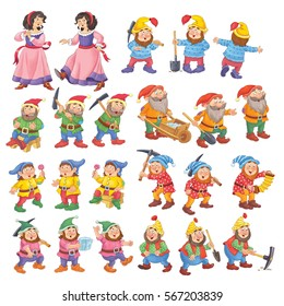 The Snow White and seven dwarfs. Fairy tale. Illustration for children. Coloring page. Coloring book. Funny cartoon characters