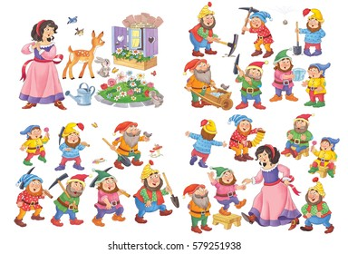 Snow white and the seven dwarfs. Fairy tale. Small set of illustrations for children. Cute and funny cartoon characters isolated on white background. Posters.