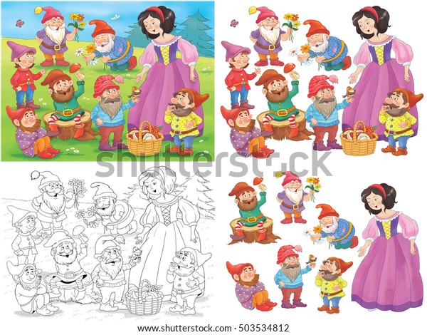 Snow White Seven Dwarfs Fairy Tale Stock Illustration 503534812