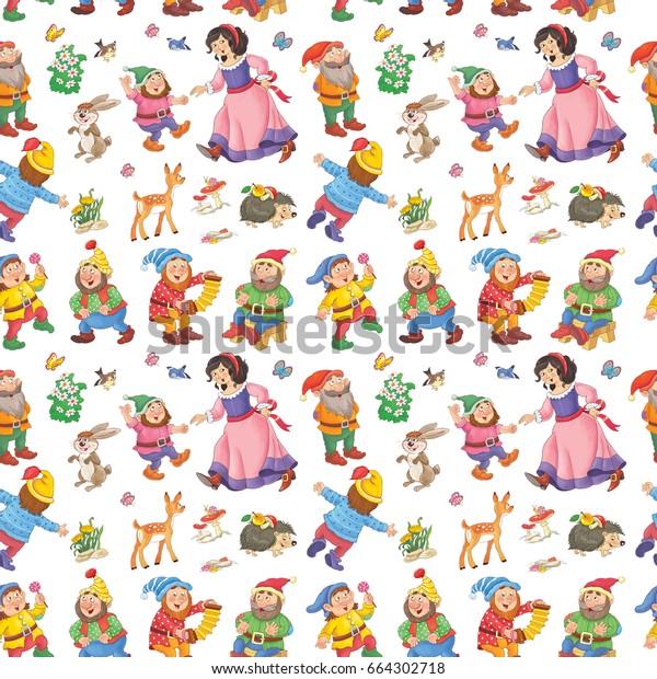 Ilustración De Stock Sobre Snow White Seven Dwarfs Seamless