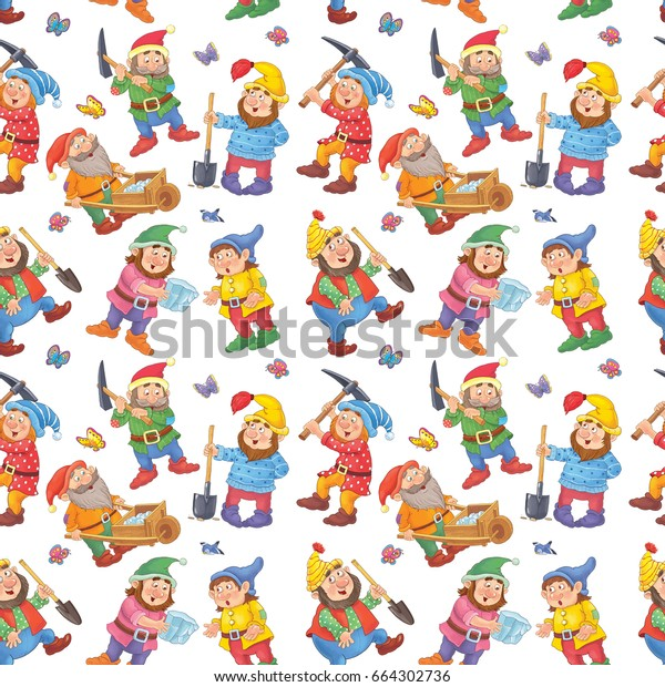 Snow White Seven Dwarfs Seamless Pattern Stock Illustration