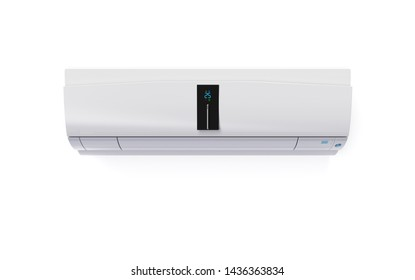 snow white touch screen air conditioner isolated on white wall 3D rendering